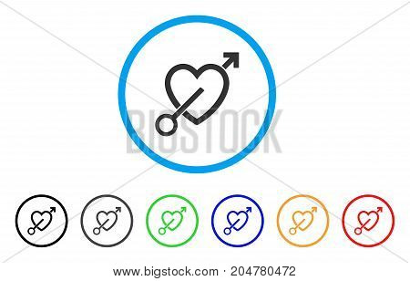 Love Arrow rounded icon. Style is a flat love arrow gray symbol inside light blue circle with black, gray, green, blue, red, orange variants. Vector designed for web and software interfaces.