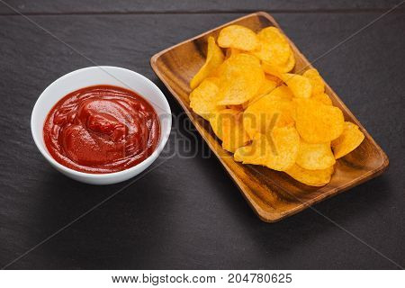 Potato Chips And Ketchup. Beer Snack, Unhealthy Eating