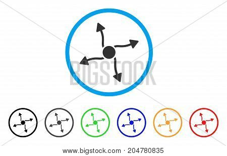 Curve Arrows rounded icon. Style is a flat curve arrows gray symbol inside light blue circle with black, gray, green, blue, red, orange variants. Vector designed for web and software interfaces.