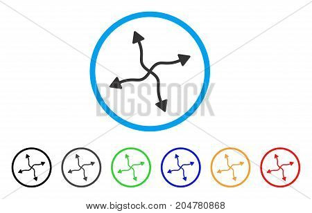 Curve Arrows rounded icon. Style is a flat curve arrows grey symbol inside light blue circle with black, gray, green, blue, red, orange variants. Vector designed for web and software interfaces.