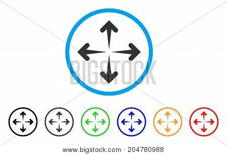Expand Arrows rounded icon. Style is a flat expand arrows grey symbol inside light blue circle with black, gray, green, blue, red, orange variants. Vector designed for web and software interfaces.