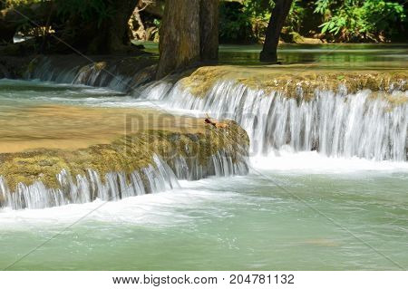 Water flowing over rocks in the forest,huai mae khamin waterfall,thailand.