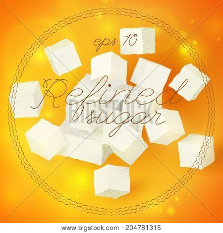 Light geometric refined sugar template with 3d cubes on bright orange background isolated vector illustration
