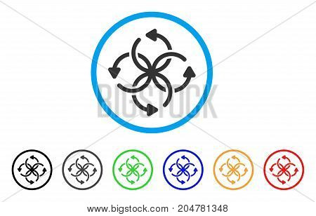 Knot Rotation rounded icon. Style is a flat knot rotation grey symbol inside light blue circle with black, gray, green, blue, red, orange variants. Vector designed for web and software interfaces.