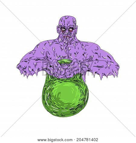 Grime art style illustration of a zombie Athlete training Lifting Kettle Bell viewed from front on isolated background.
