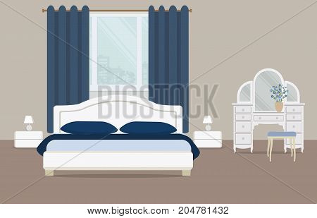 Bedroom in a blue color. There is a dressing table, a bed with pillows, bedside tables, lamps and other objects on a window background in the picture. Vector flat illustration