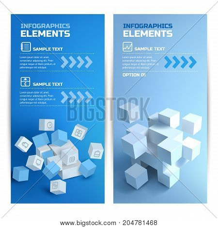 Digital infographic vertical banners with 3d cubes graph wallet notepad icons on blue background isolated vector illustration