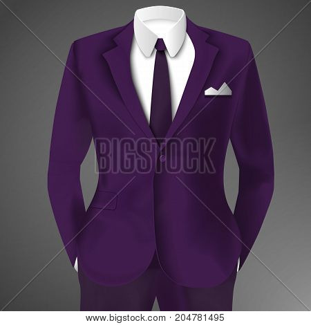 Purple business suit template with tie and white shirt in realistic luxury style isolated vector illustration
