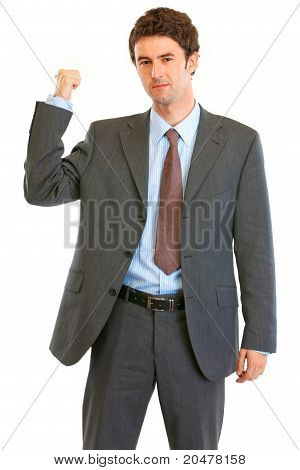 Angry modern businessman showing get out gesture isolated on white
