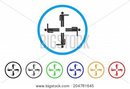 Pointing Men rounded icon. Style is a flat pointing men grey symbol inside light blue circle with black, gray, green, blue, red, orange color versions. Vector designed for web and software interfaces.
