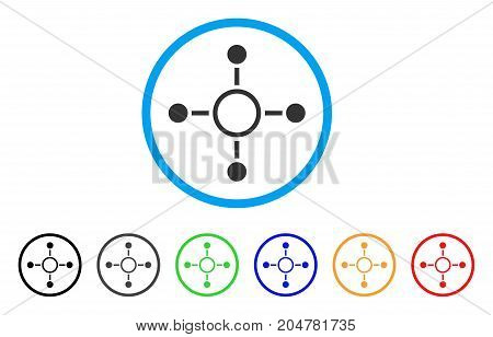 Radial Structure rounded icon. Style is a flat radial structure gray symbol inside light blue circle with black, gray, green, blue, red, orange variants.