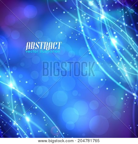 Abstract blurred blue background with curved glittering fibres and sparkles on corners vector illustration