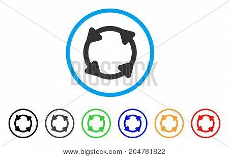 Rotate rounded icon. Style is a flat rotate gray symbol inside light blue circle with black, gray, green, blue, red, orange variants. Vector designed for web and software interfaces.