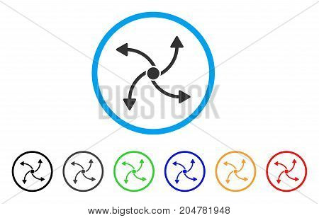 Swirl Direction rounded icon. Style is a flat swirl direction gray symbol inside light blue circle with black, gray, green, blue, red, orange variants. Vector designed for web and software interfaces.
