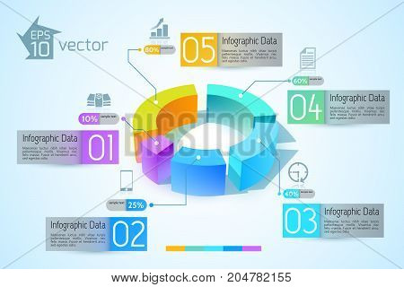 Abstract business diagram infographics with colorful 3d graphs five options text and icons vector illustration