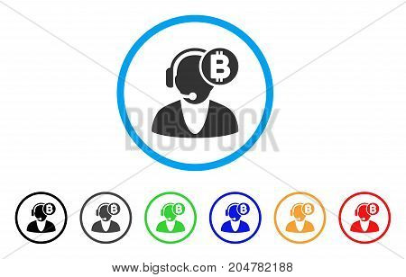 Bitcoin Operator rounded icon. Style is a flat bitcoin operator gray symbol inside light blue circle with black, gray, green, blue, red, orange versions.