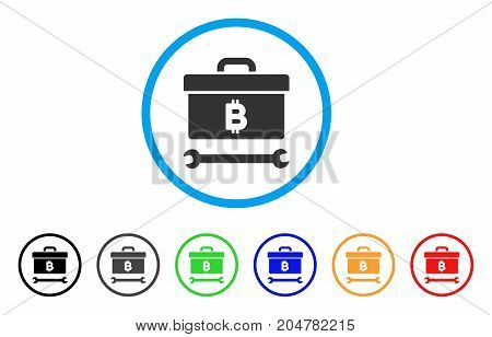 Bitcoin Toolbox rounded icon. Style is a flat bitcoin toolbox grey symbol inside light blue circle with black, gray, green, blue, red, orange color versions.