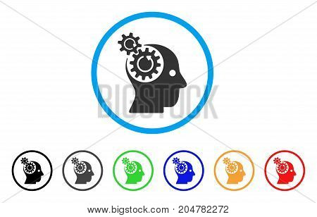 Brain Gears Rotation rounded icon. Style is a flat brain gears rotation grey symbol inside light blue circle with black, gray, green, blue, red, orange versions.