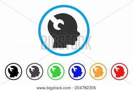 Brain Wrench Tool rounded icon. Style is a flat brain wrench tool grey symbol inside light blue circle with black, gray, green, blue, red, orange color versions.