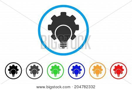 Bulb Configuration Gear rounded icon. Style is a flat bulb configuration gear grey symbol inside light blue circle with black, gray, green, blue, red, orange color versions.