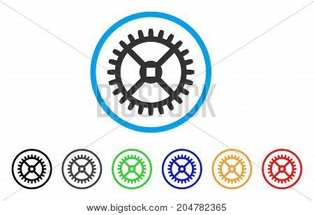 Clock Gear rounded icon. Style is a flat clock gear gray symbol inside light blue circle with black, gray, green, blue, red, orange versions. Vector designed for web and software interfaces.