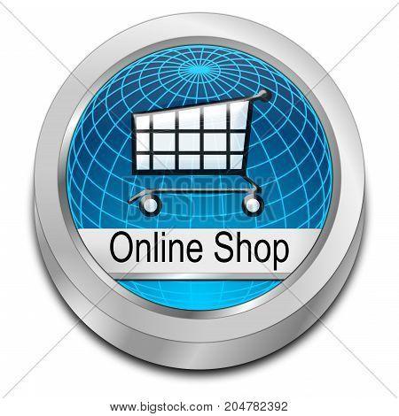 decorative blue online Shop Button - 3D illustration