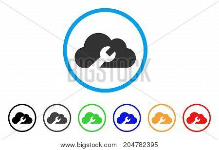 Cloud Wrench Tools rounded icon. Style is a flat cloud wrench tools gray symbol inside light blue circle with black, gray, green, blue, red, orange color versions.