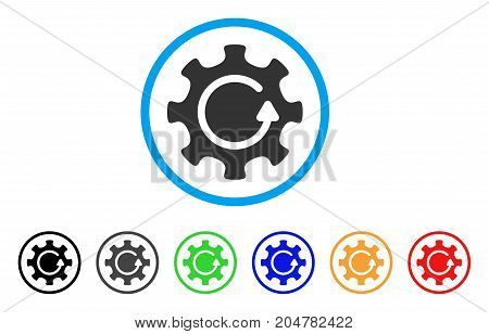 Cog Rotation Direction rounded icon. Style is a flat cog rotation direction gray symbol inside light blue circle with black, gray, green, blue, red, orange variants.