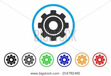 Cog rounded icon. Style is a flat cog grey symbol inside light blue circle with black, gray, green, blue, red, orange color versions. Vector designed for web and software interfaces.