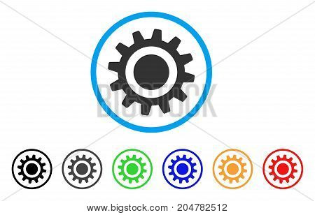 Cog rounded icon. Style is a flat cog gray symbol inside light blue circle with black, gray, green, blue, red, orange color versions. Vector designed for web and software interfaces.