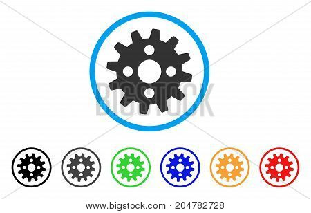 Cogwheel rounded icon. Style is a flat cogwheel gray symbol inside light blue circle with black, gray, green, blue, red, orange variants. Vector designed for web and software interfaces.