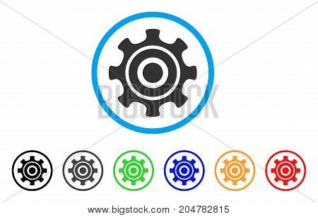 Cogwheel rounded icon. Style is a flat cogwheel gray symbol inside light blue circle with black, gray, green, blue, red, orange versions. Vector designed for web and software interfaces.