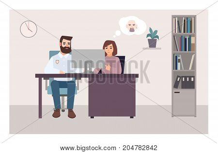 Woman sitting at desk with policeman, looking at computer screen and trying to identify criminal using photo. Crime victim at police station. Flat cartoon characters. Colorful vector illustration
