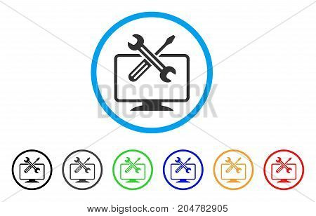 Computer Tools rounded icon. Style is a flat computer tools gray symbol inside light blue circle with black, gray, green, blue, red, orange versions. Vector designed for web and software interfaces.