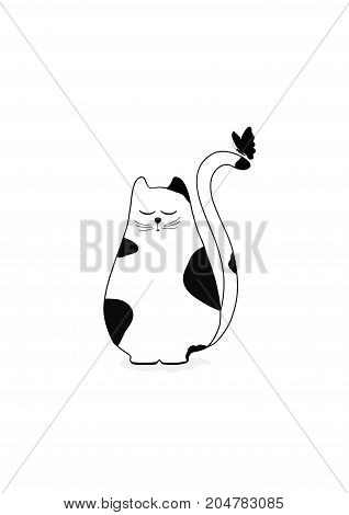 Cute stylized cat with butterfly on white background