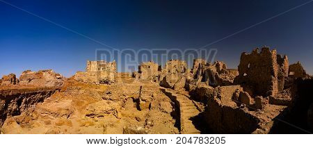 Ruins of the Amun Oracle temple in Siwa oasis Egypt