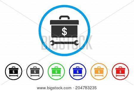 Dollar Toolbox rounded icon. Style is a flat dollar toolbox grey symbol inside light blue circle with black, gray, green, blue, red, orange variants. Vector designed for web and software interfaces.