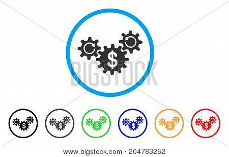Dollar Wheels Rotation rounded icon. Style is a flat dollar wheels rotation gray symbol inside light blue circle with black, gray, green, blue, red, orange versions.
