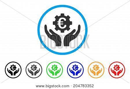 Euro Maintenance Hands rounded icon. Style is a flat euro maintenance hands gray symbol inside light blue circle with black, gray, green, blue, red, orange color versions.