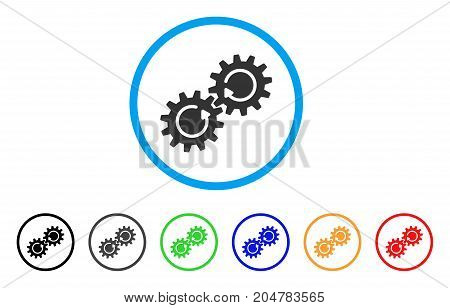 Gear Mechanism Rotation rounded icon. Style is a flat gear mechanism rotation grey symbol inside light blue circle with black, gray, green, blue, red, orange variants.