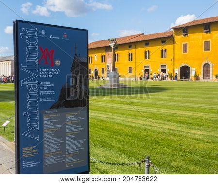 The Opera called Palazzo dell Opera at Duomo Square in Pisa - PISA TUSCANY ITALY - SEPTEMBER 13, 2017
