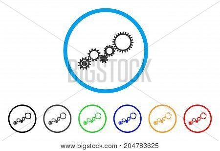 Gear Mechanism rounded icon. Style is a flat gear mechanism gray symbol inside light blue circle with black, gray, green, blue, red, orange color versions.