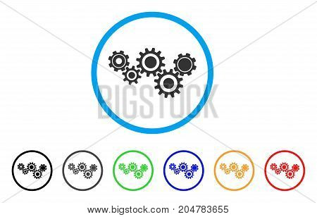 Gear Mechanism rounded icon. Style is a flat gear mechanism grey symbol inside light blue circle with black, gray, green, blue, red, orange color versions.