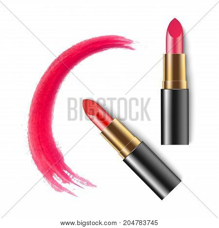 Lipstick. Cosmetics. Makeup. Realistic 3D Mock-up Of Cosmetics. Red Lipstick. Vector Illustration De