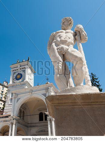 Statue of the 16 century. Statue of Hercules. Medieval art. UdineItaly