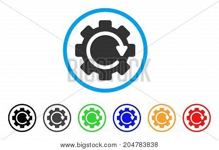 Gear Rotation Direction rounded icon. Style is a flat gear rotation direction grey symbol inside light blue circle with black, gray, green, blue, red, orange variants.