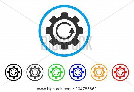 Gear Rotation Direction rounded icon. Style is a flat gear rotation direction grey symbol inside light blue circle with black, gray, green, blue, red, orange color versions.