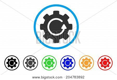Gear Rotation rounded icon. Style is a flat gear rotation grey symbol inside light blue circle with black, gray, green, blue, red, orange versions. Vector designed for web and software interfaces.