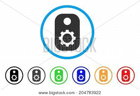 Gear Tag rounded icon. Style is a flat gear tag grey symbol inside light blue circle with black, gray, green, blue, red, orange color versions. Vector designed for web and software interfaces.