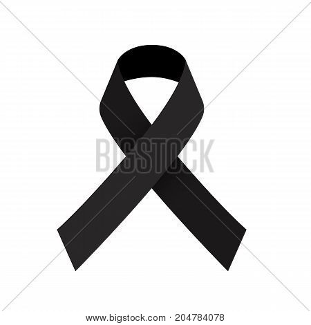 Black ribbon mourning sign Vector illustration and Jpeg clipping paths included.